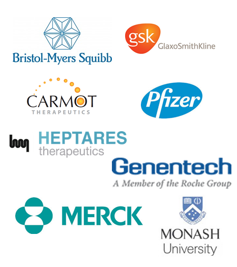Logos for BMS, GSK, Carmot, Pfizer, Heptares, Genentech, Merck and Monash University