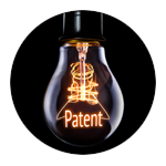 "A light bulb lit with the word ""patent"" inside"
