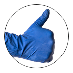 A hand giving the thumbs up with a blue glove