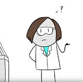 Cartoon of person working in a lab alone