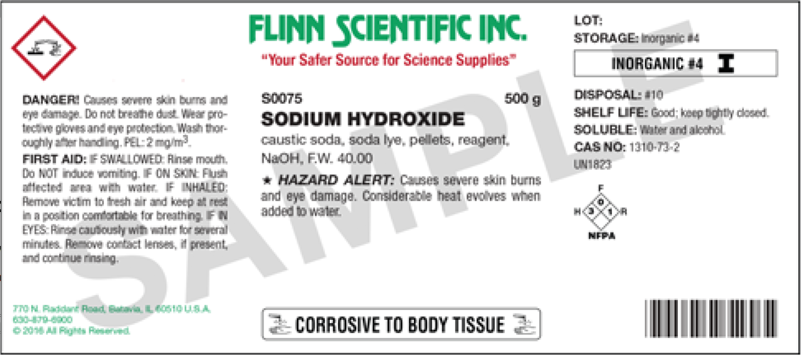 Label of a sodium hydroxide bottle