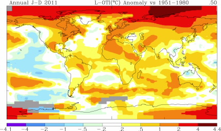2011 annual average temperature anomalies plotted on a map of the Earth's surface