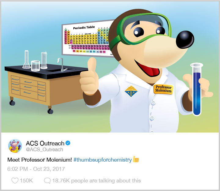 Mole wearing googles and holding a beaker in a lab