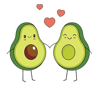two halves of an avocado holding hands with love hearts between them
