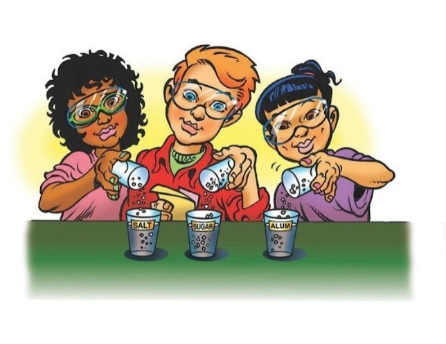 Illustration of students performing science activity