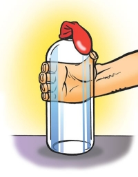 bottle with empty balloon