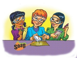 illustration of students scraping soap onto paper