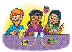 illustration of students doing activity with water, hard water, and epsom salt