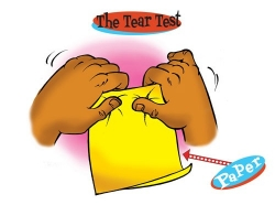 Tear test with paper