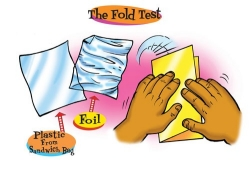 The fold test with a plastic bag, foil, and paper