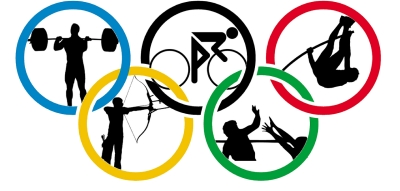 Olympic rings with different sports depicted inside