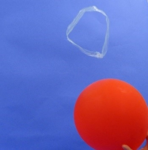 Balloon repelling plastic strip circle and making it float in the air.
