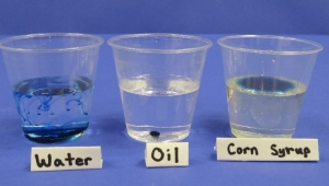 Food coloring in water, oil, and corn syrup.