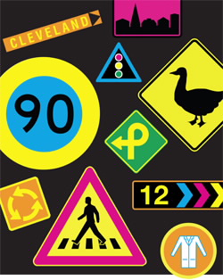 Signs are one common use of DayGlo fluorescent pigments. Copyright American Chemical Society 2012.