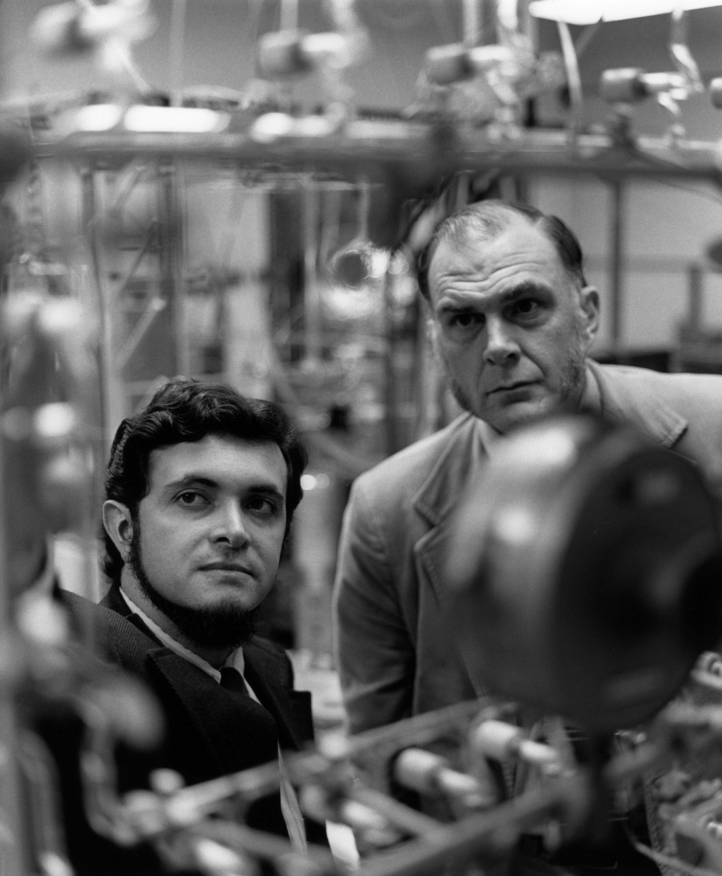 F. Sherwood Rowland (right) and Mario J. Molina in their University of California, Irvine lab