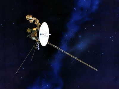 Artist's concept of Voyager 2 space probe, which uses plutonium-238 for in-flight power.