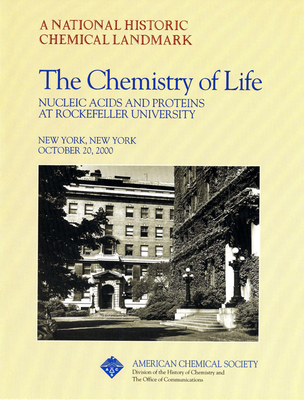 """The Chemistry of Life: Nucleic Acids and Proteins at Rockefeller University"" commemorative booklet"