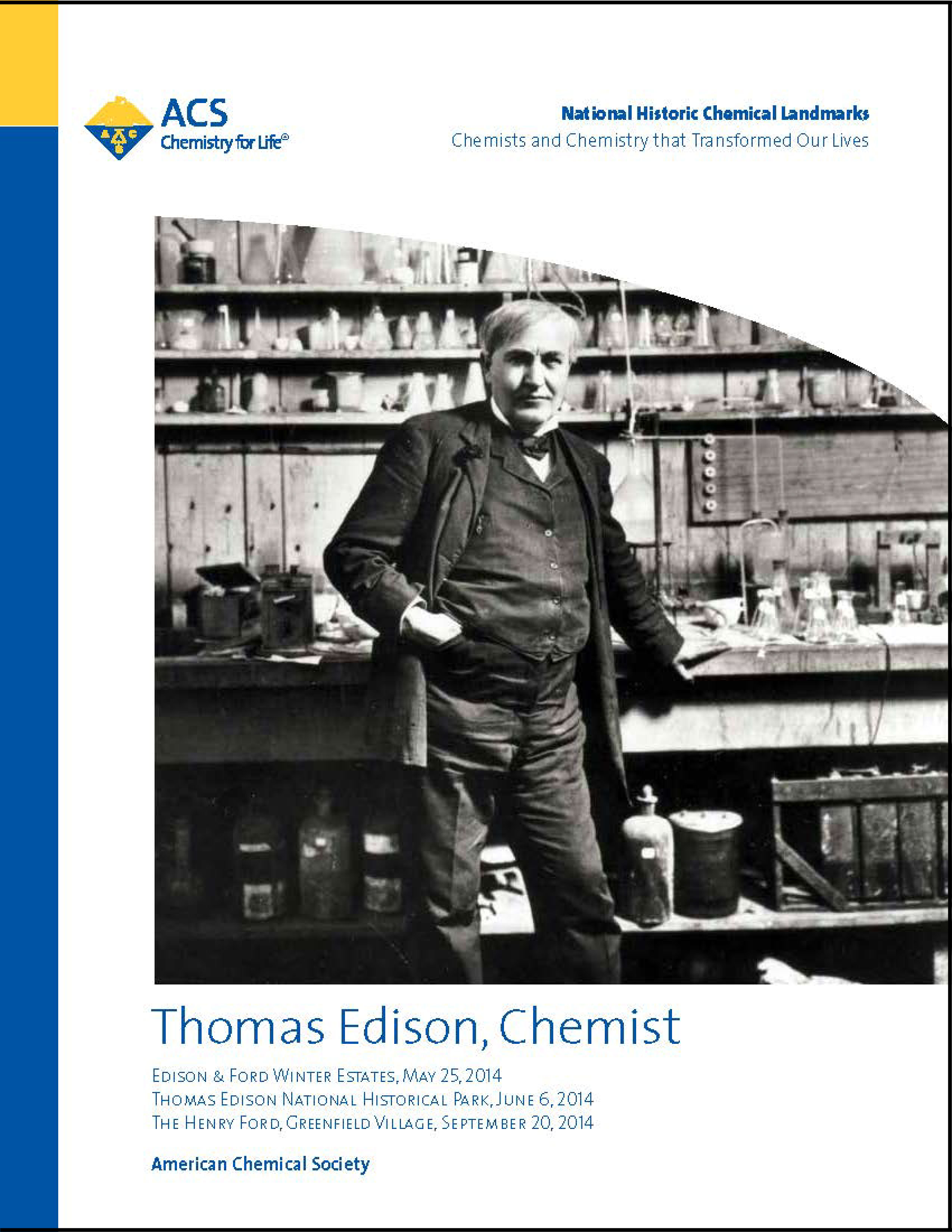 Thomas Edison, Chemist National Historic Chemical Landmark commemorative booklet