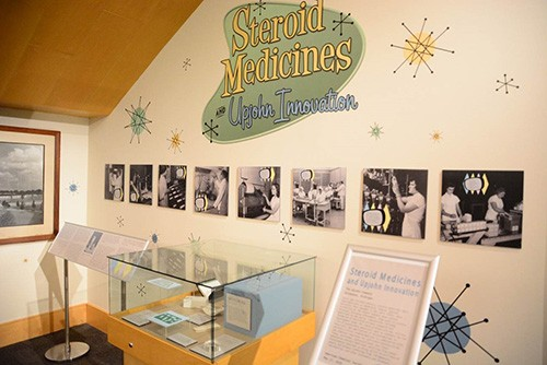 Upjohn steroid medicine exhibit at Kalamazoo Valley Museum, site of the designation ceremony for National Historic Chemical Landmark