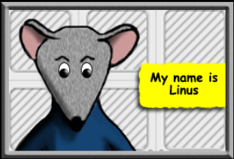 Linus the mouse in a blue shirt