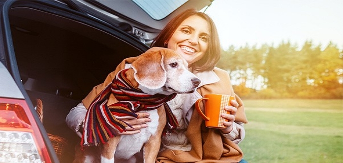 banner image of woman and dog
