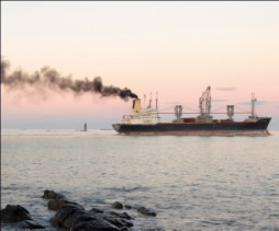 Cruise ship releasing black smoke pollutant