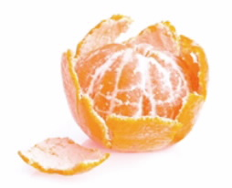 Half peeled orange