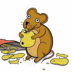 Cartoon of a mouse eating potato chips