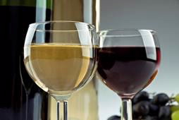 A glass white wine and a glass of red wine