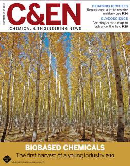 Cover of Chemical & Engineering News magazine September 17, 2012 issue. Feature story: Biobased Chemicals - The first havervest of a young industry.