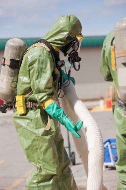 Person in hazmat suit